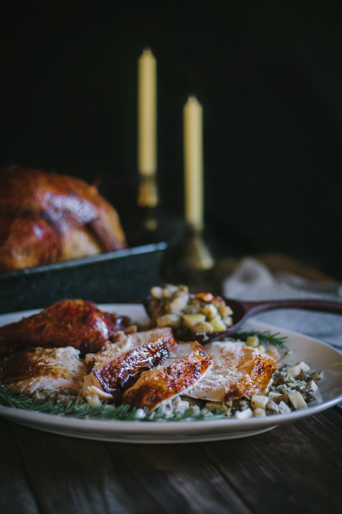 Herb Brined Roast Turkey with Sweet Potato Pork Belly Stuffing | Crate ...